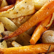 Roasted parsnips and carrots and baby onions