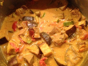 Finished beef tongue vegetable curry
