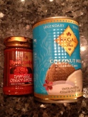Thai red curry paste and coconut milk