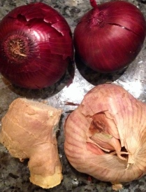 Onions, garlic and ginger
