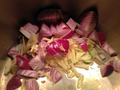 Sauteing onions, garlic, and ginger