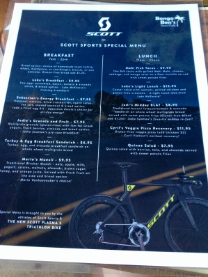 Bongo Bens athlete menu