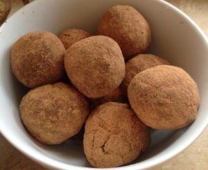 Finished cocoa rolled hemp protein cocoa energy balls