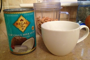Nuts, seeds, coconut milk and my measuring cup