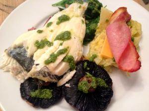 Plaice, bacon, mushrooms, celeriac and spinach