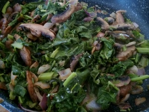 Quick veg - mushroom, spinach, onions and cream 3