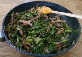 Quick veg - mushroom, spinach, onions and cream.