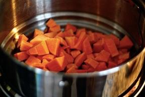 Steamed sweet potato chunks