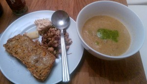 Mushroom and celery soup with coconut and cumin