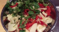 everything in it salad: deep green leaves, parsley, coriander, ginger, apple, peppers. Celery and radish, cucumber, tomatoes or anything else that you have will also work well