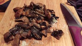 Large capped mushrooms with thyme and a sprinking of parmesan